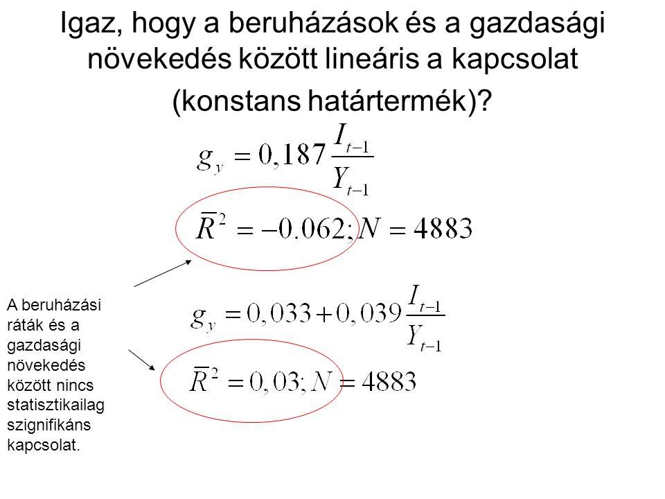 Igaz, hogy a beruházások és a gazdasági növekedés között lineáris a kapcsolat (konstans határtermék).