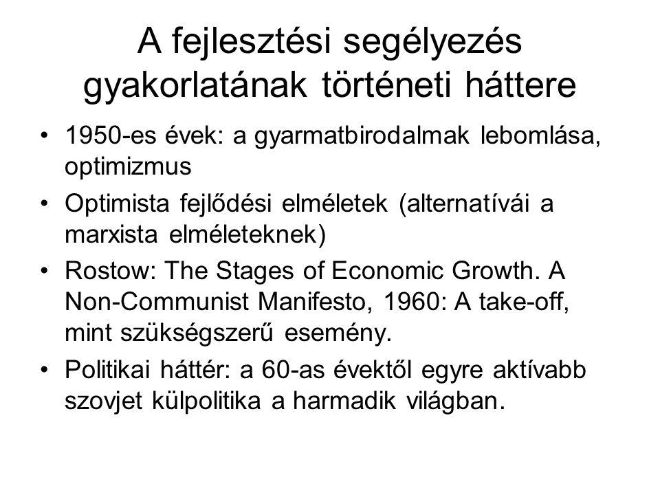 A fejlesztési segélyezés gyakorlatának történeti háttere 1950-es évek: a gyarmatbirodalmak lebomlása, optimizmus Optimista fejlődési elméletek (alternatívái a marxista elméleteknek) Rostow: The Stages of Economic Growth.