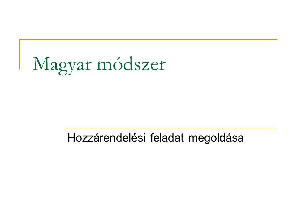 Magyar módszer Hozzárendelési feladat megoldása