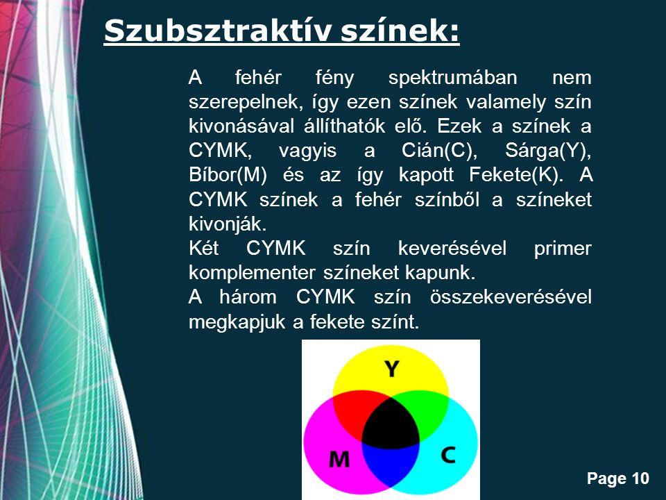 Free Powerpoint Templates Page 10 Szubsztraktív színek: A fehér fény spektrumában nem szerepelnek, így ezen színek valamely szín kivonásával állíthatók elő.