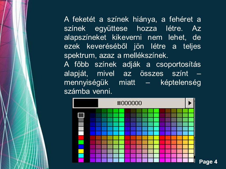 Free Powerpoint Templates Page 4 A feketét a színek hiánya, a fehéret a színek együttese hozza létre.