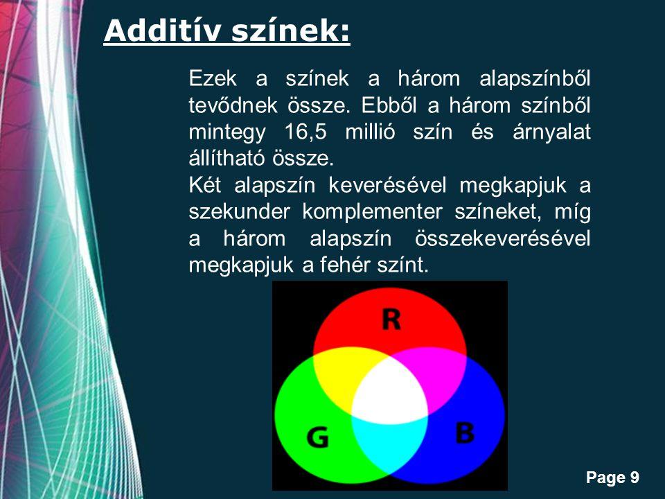 Free Powerpoint Templates Page 9 Additív színek: Ezek a színek a három alapszínből tevődnek össze.