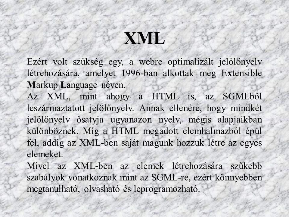 XML Ezért volt szükség egy, a webre optimalizált jelölőnyelv létrehozására, amelyet 1996-ban alkottak meg Extensible Markup Language néven.