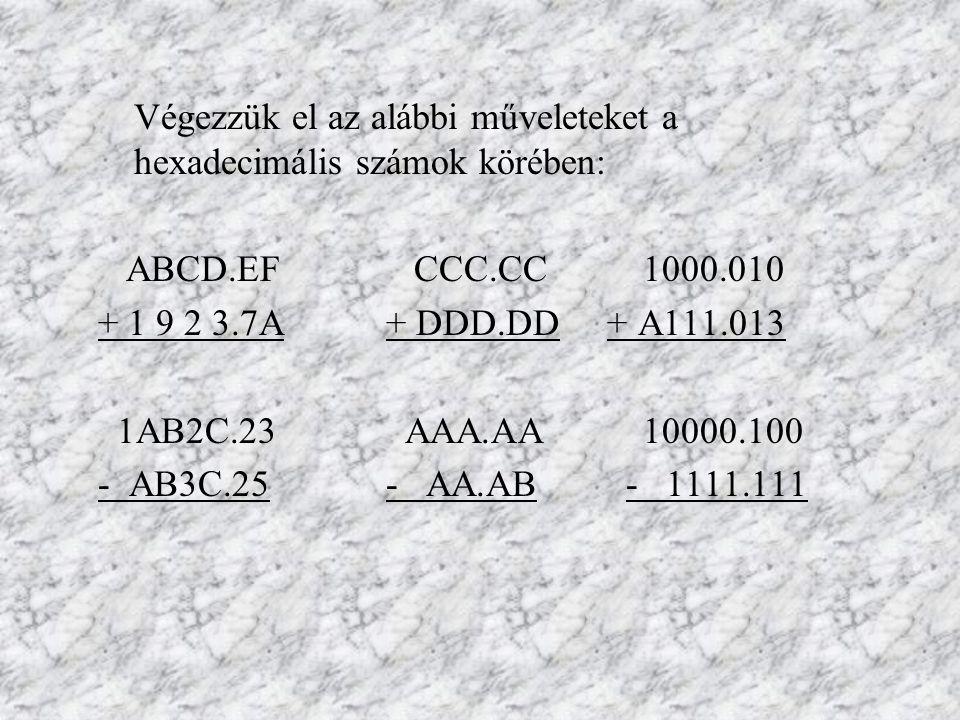 Végezzük el az alábbi műveleteket a hexadecimális számok körében: ABCD.EF CCC.CC 1000.010 + 1 9 2 3.7A+ DDD.DD + A111.013 1AB2C.23 AAA.AA 10000.100 -