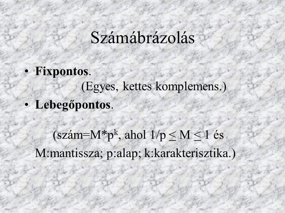Számábrázolás Fixpontos. (Egyes, kettes komplemens.) Lebegőpontos. (szám=M*p k, ahol 1/p < M < 1 és M:mantissza; p:alap; k:karakterisztika.)