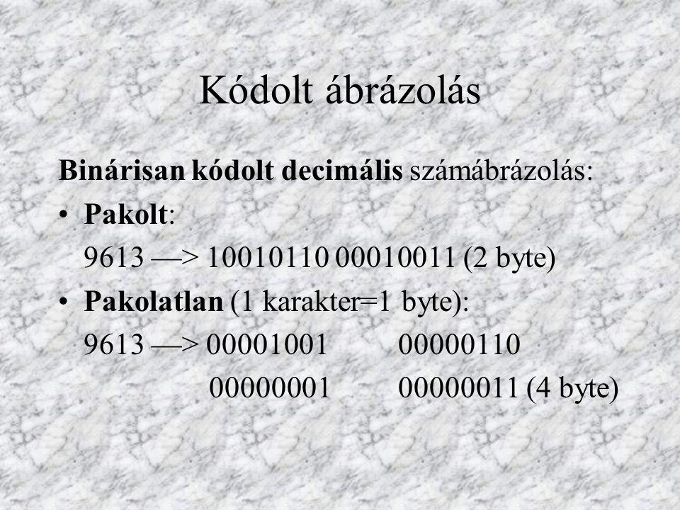 Kódolt ábrázolás Binárisan kódolt decimális számábrázolás: Pakolt: 9613 —> 10010110 00010011 (2 byte) Pakolatlan (1 karakter=1 byte): 9613 —> 00001001