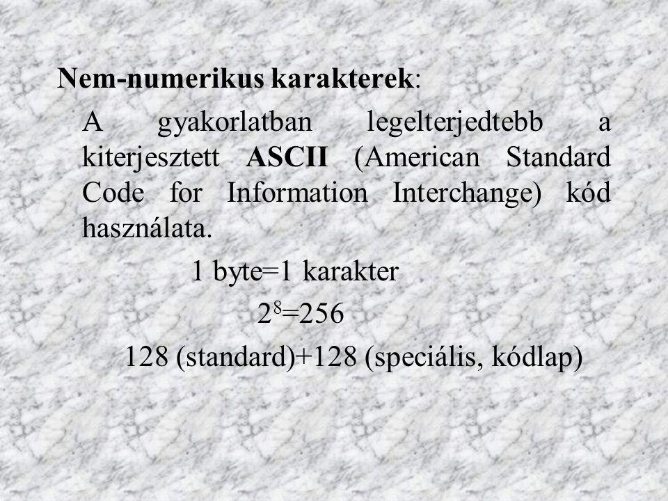 Nem-numerikus karakterek: A gyakorlatban legelterjedtebb a kiterjesztett ASCII (American Standard Code for Information Interchange) kód használata. 1