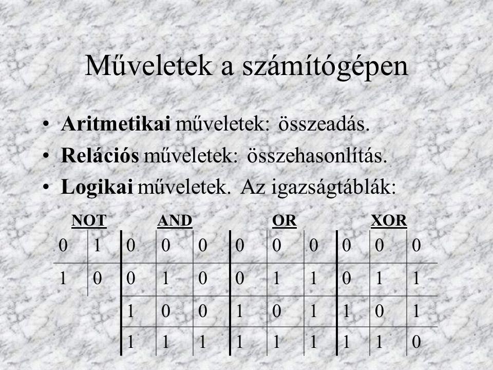 Műveletek a számítógépen Aritmetikai műveletek: összeadás. Relációs műveletek: összehasonlítás. Logikai műveletek. Az igazságtáblák: NOT AND OR XOR 01
