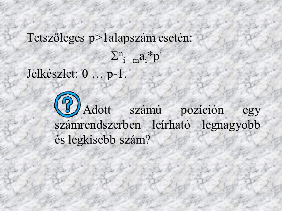 Tetszőleges p>1alapszám esetén:  n i=-m a i *p i Jelkészlet: 0 … p-1. Adott számú pozíción egy számrendszerben leírható legnagyobb és legkisebb szám?