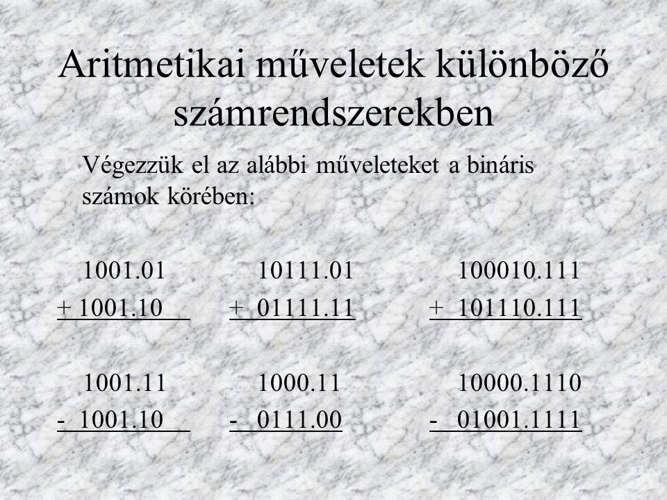 Aritmetikai műveletek különböző számrendszerekben Végezzük el az alábbi műveleteket a bináris számok körében: 1001.0110111.01100010.111 + 1001.10 + 01