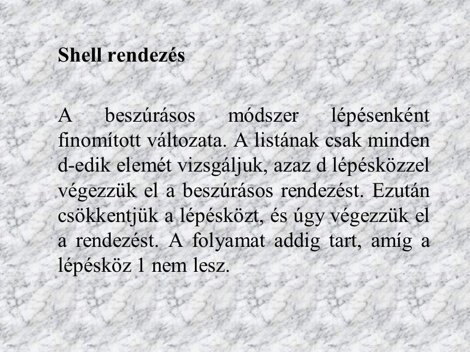 Shell rendezés A beszúrásos módszer lépésenként finomított változata.