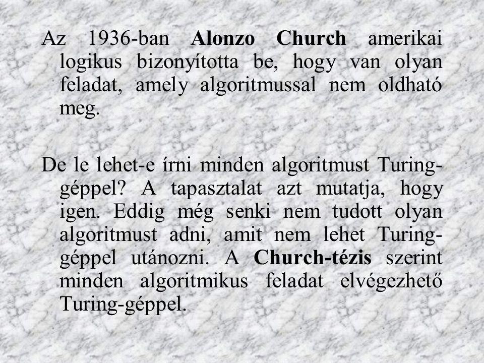 Az 1936-ban Alonzo Church amerikai logikus bizonyította be, hogy van olyan feladat, amely algoritmussal nem oldható meg. De le lehet-e írni minden alg