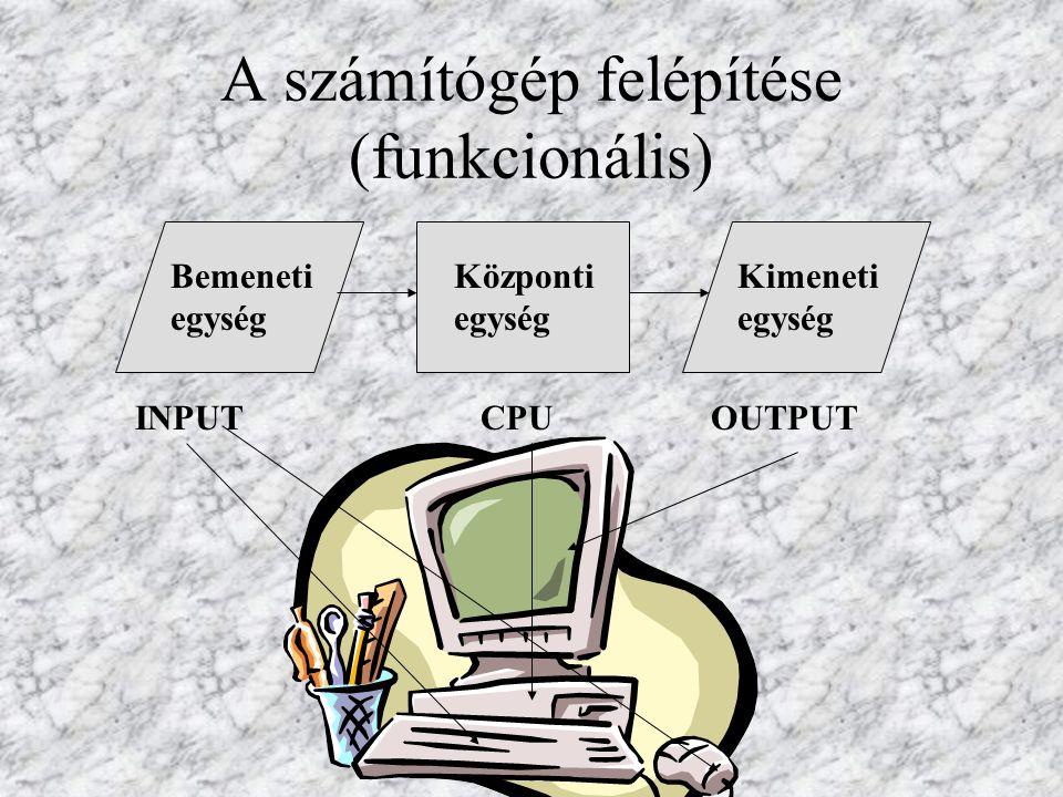 A számítógép felépítése (funkcionális) Bemeneti egység Kimeneti egység Központi egység INPUT CPU OUTPUT