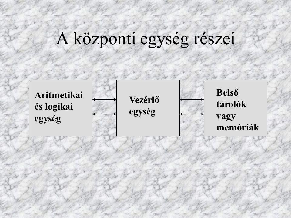 A központi egység részei Aritmetikai és logikai egység Vezérlő egység Belső tárolók vagy memóriák
