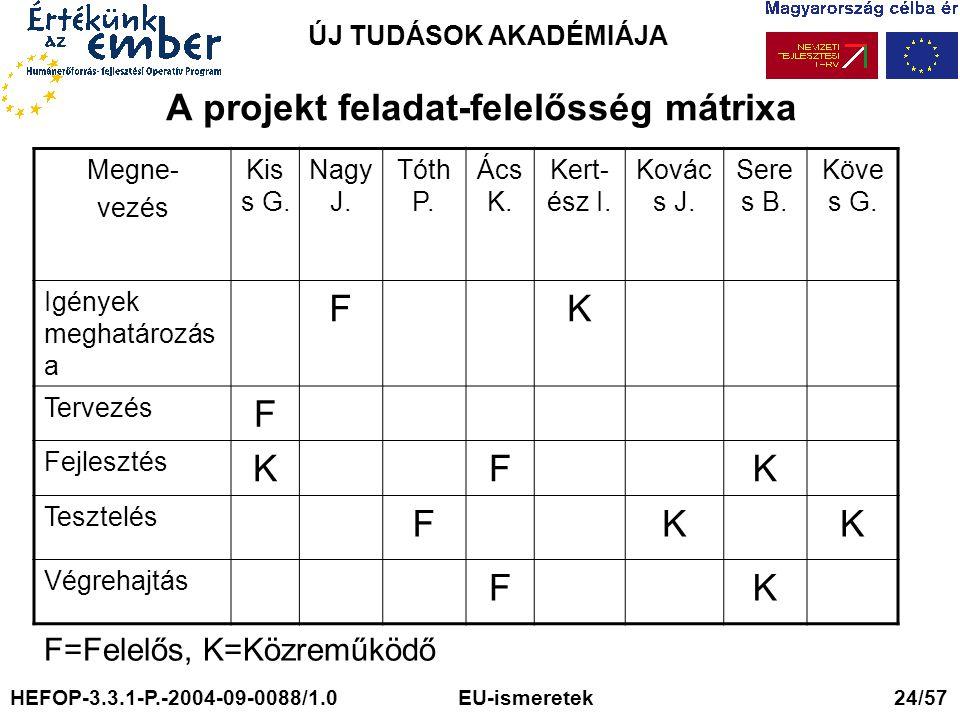 ÚJ TUDÁSOK AKADÉMIÁJA A projekt feladat-felelősség mátrixa Megne- vezés Kis s G. Nagy J. Tóth P. Ács K. Kert- ész I. Kovác s J. Sere s B. Köve s G. Ig