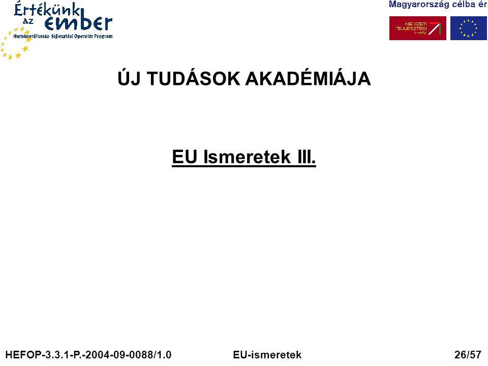 ÚJ TUDÁSOK AKADÉMIÁJA EU Ismeretek III. HEFOP-3.3.1-P.-2004-09-0088/1.0 EU-ismeretek 26/57