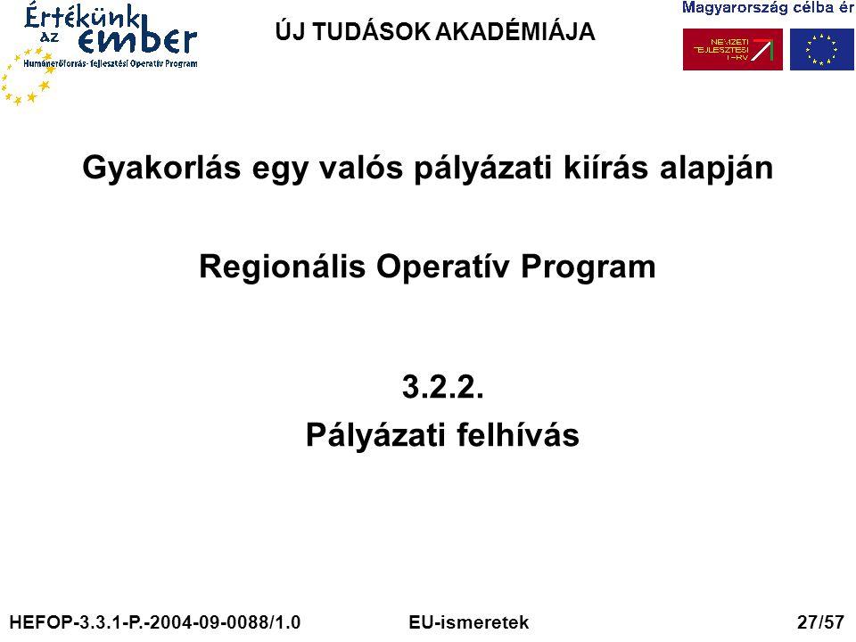 ÚJ TUDÁSOK AKADÉMIÁJA Gyakorlás egy valós pályázati kiírás alapján Regionális Operatív Program 3.2.2. Pályázati felhívás HEFOP-3.3.1-P.-2004-09-0088/1