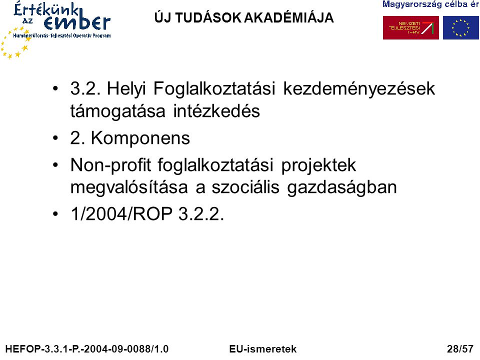 ÚJ TUDÁSOK AKADÉMIÁJA 3.2. Helyi Foglalkoztatási kezdeményezések támogatása intézkedés 2. Komponens Non-profit foglalkoztatási projektek megvalósítása