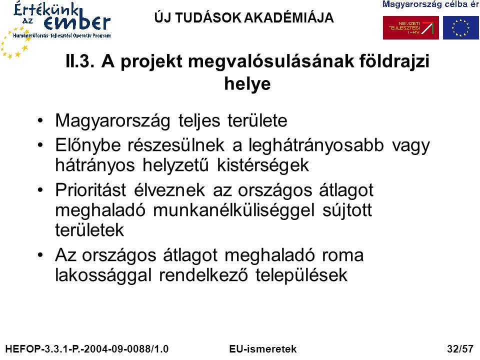 ÚJ TUDÁSOK AKADÉMIÁJA II.3. A projekt megvalósulásának földrajzi helye Magyarország teljes területe Előnybe részesülnek a leghátrányosabb vagy hátrány