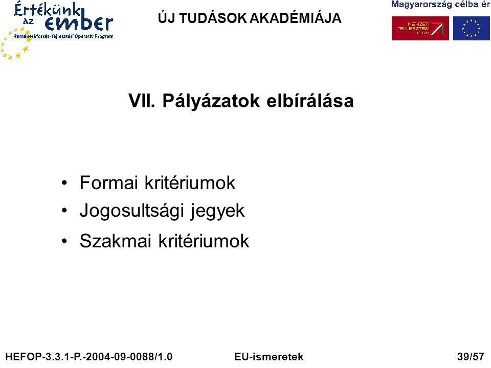 ÚJ TUDÁSOK AKADÉMIÁJA VII. Pályázatok elbírálása Formai kritériumok Jogosultsági jegyek Szakmai kritériumok HEFOP-3.3.1-P.-2004-09-0088/1.0 EU-ismeret