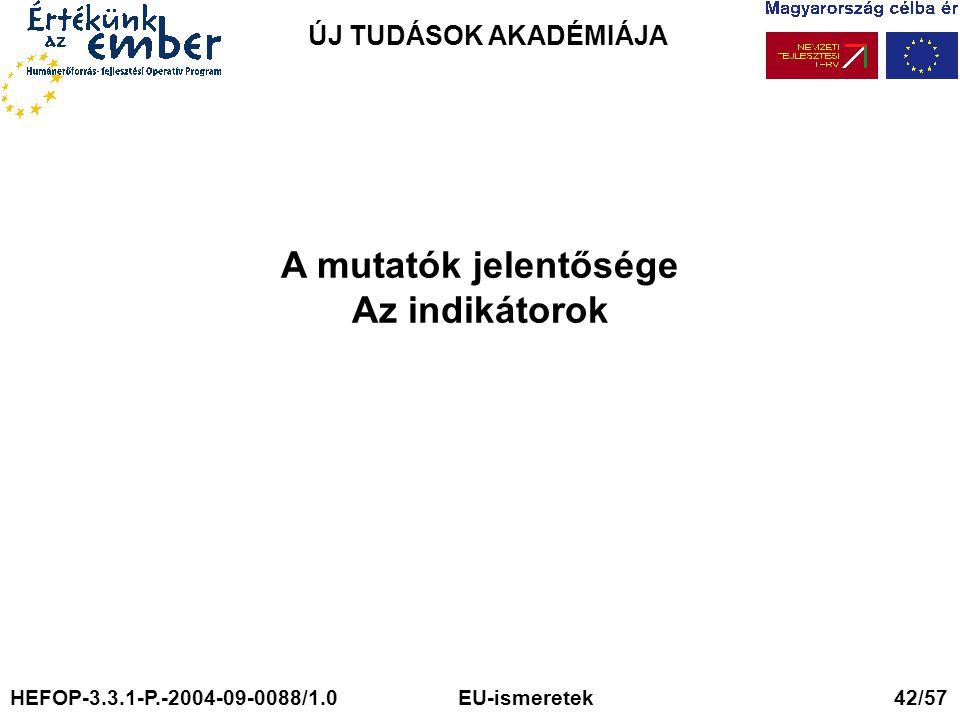 ÚJ TUDÁSOK AKADÉMIÁJA A mutatók jelentősége Az indikátorok HEFOP-3.3.1-P.-2004-09-0088/1.0 EU-ismeretek 42/57