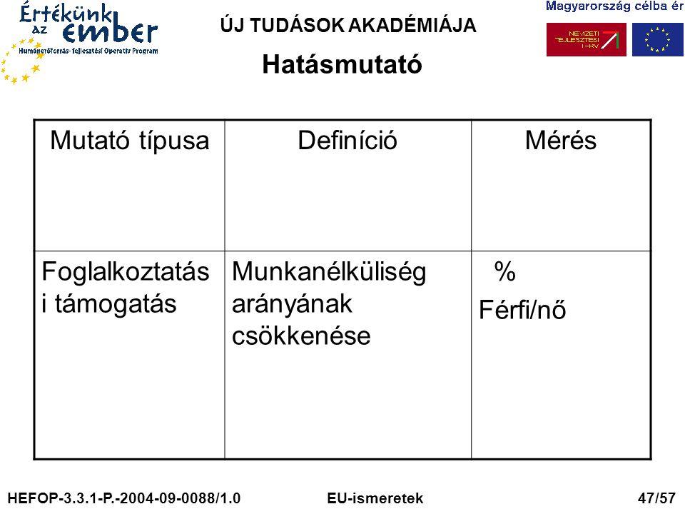 ÚJ TUDÁSOK AKADÉMIÁJA Hatásmutató Mutató típusaDefinícióMérés Foglalkoztatás i támogatás Munkanélküliség arányának csökkenése % Férfi/nő HEFOP-3.3.1-P.-2004-09-0088/1.0 EU-ismeretek 47/57