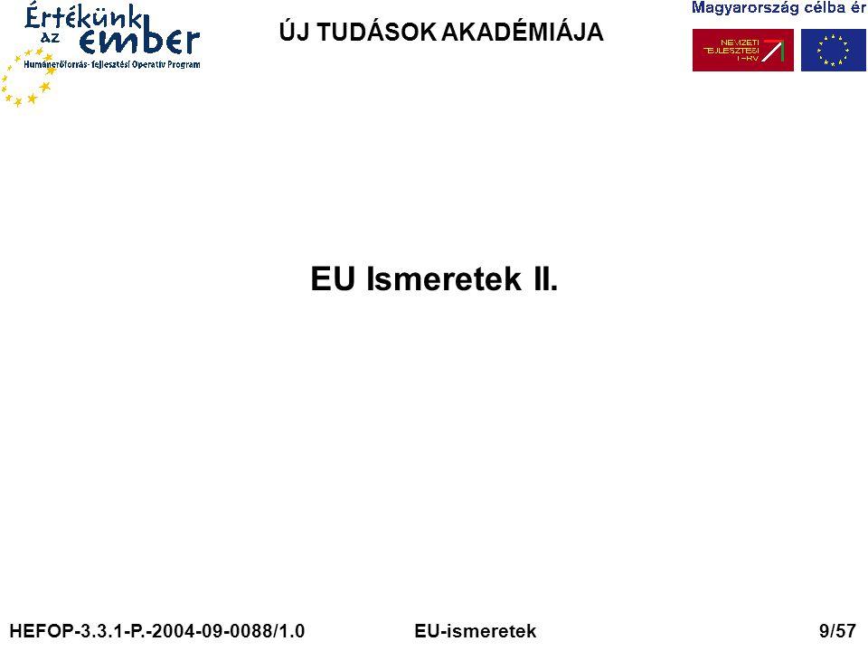 ÚJ TUDÁSOK AKADÉMIÁJA EU Ismeretek II. HEFOP-3.3.1-P.-2004-09-0088/1.0 EU-ismeretek 9/57