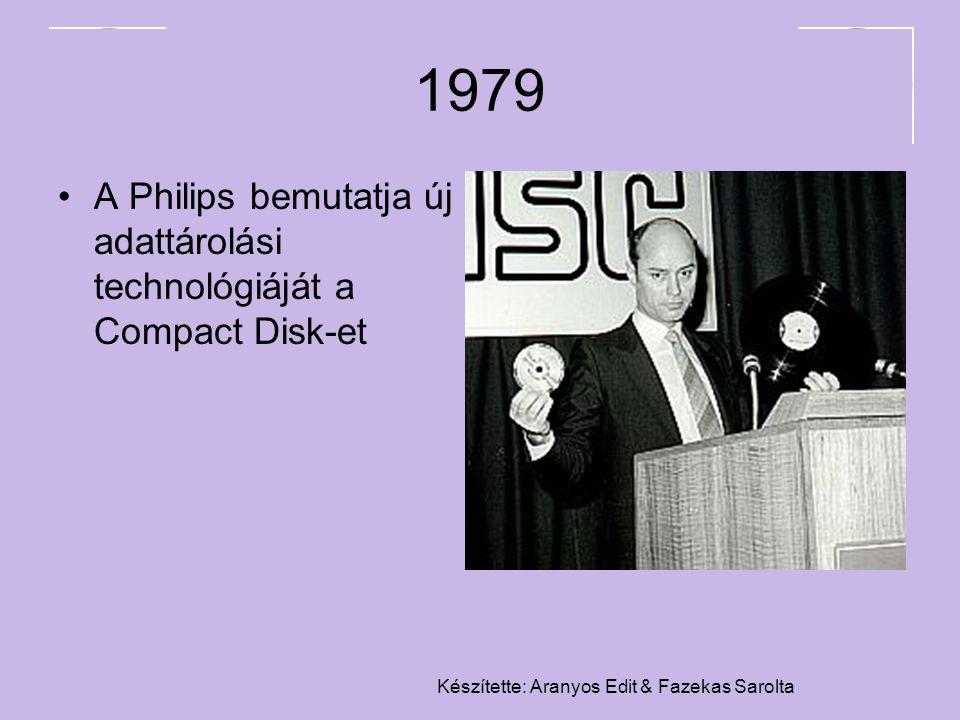 Készítette: Aranyos Edit & Fazekas Sarolta 1979 A Philips bemutatja új adattárolási technológiáját a Compact Disk-et