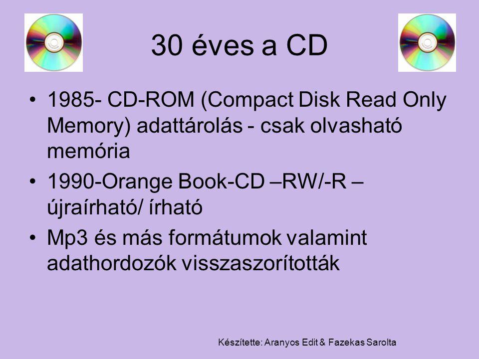 Készítette: Aranyos Edit & Fazekas Sarolta 30 éves a CD 1985- CD-ROM (Compact Disk Read Only Memory) adattárolás - csak olvasható memória 1990-Orange
