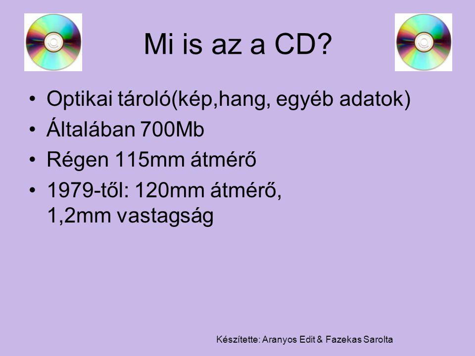 Készítette: Aranyos Edit & Fazekas Sarolta Mi is az a CD? Optikai tároló(kép,hang, egyéb adatok) Általában 700Mb Régen 115mm átmérő 1979-től: 120mm át