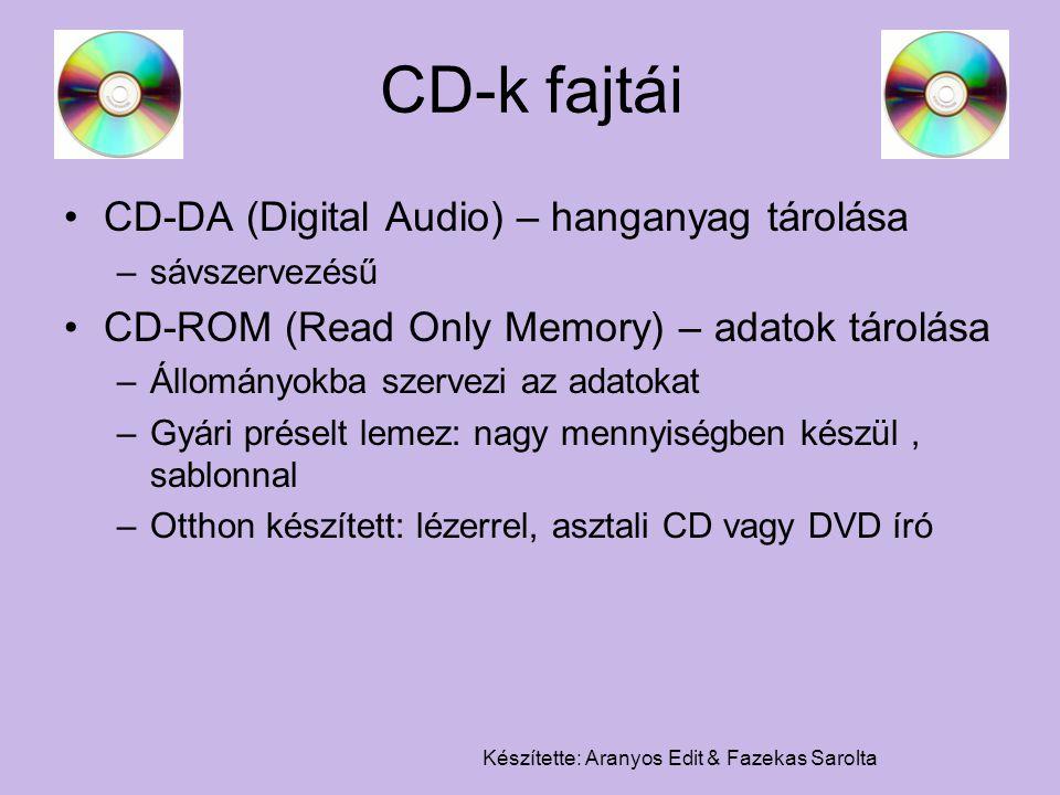 Készítette: Aranyos Edit & Fazekas Sarolta CD-k fajtái CD-DA (Digital Audio) – hanganyag tárolása –sávszervezésű CD-ROM (Read Only Memory) – adatok tá
