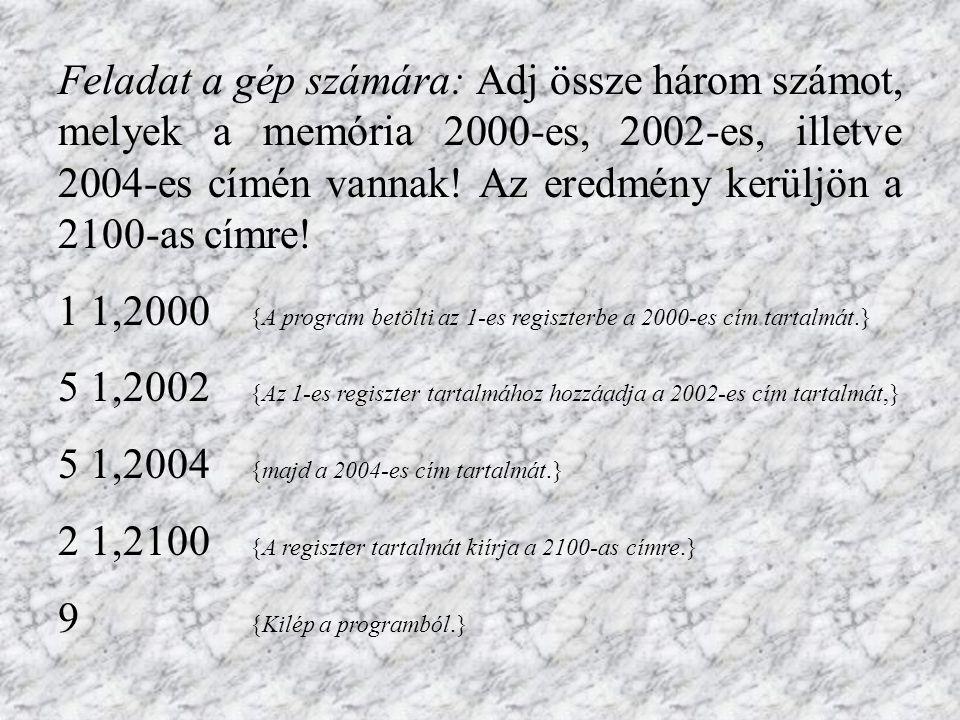 Feladat a gép számára: Adj össze három számot, melyek a memória 2000-es, 2002-es, illetve 2004-es címén vannak.