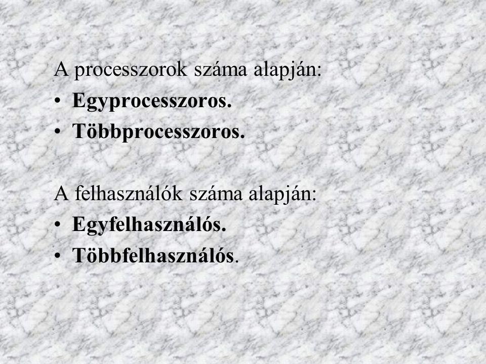A processzorok száma alapján: Egyprocesszoros. Többprocesszoros.