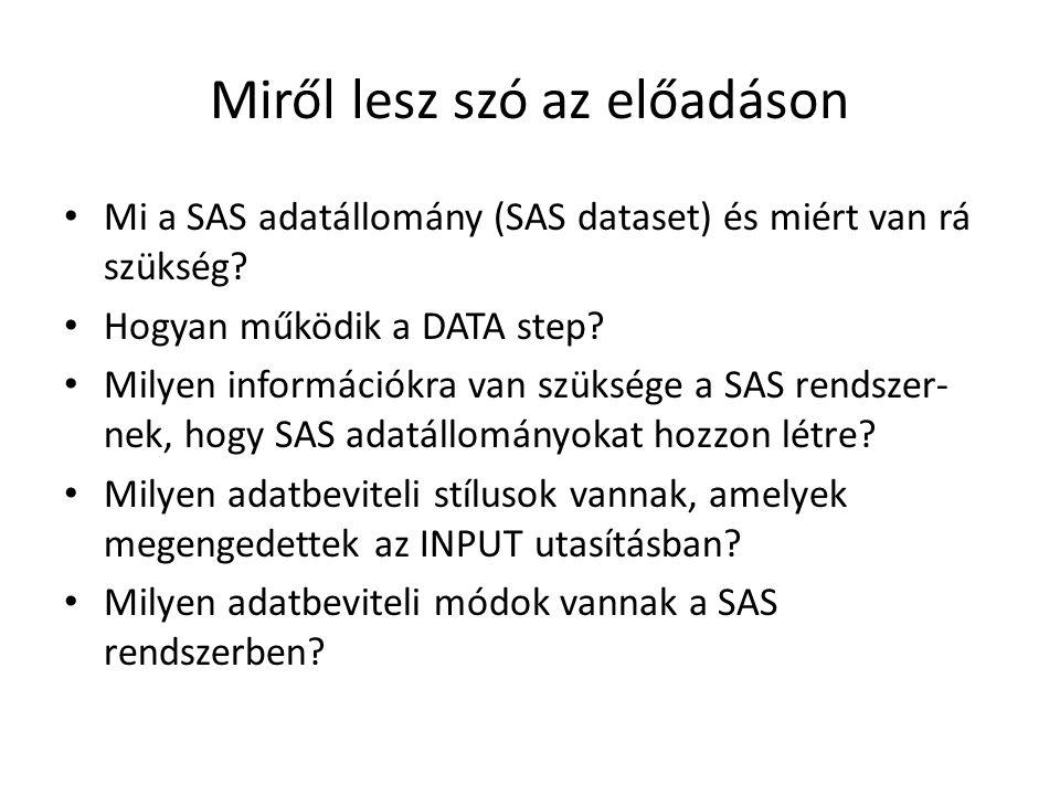 Miről lesz szó az előadáson Mi a SAS adatállomány (SAS dataset) és miért van rá szükség.
