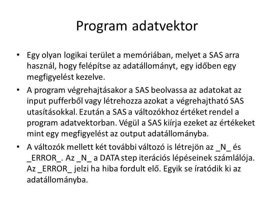 Program adatvektor Egy olyan logikai terület a memóriában, melyet a SAS arra használ, hogy felépítse az adatállományt, egy időben egy megfigyelést kezelve.