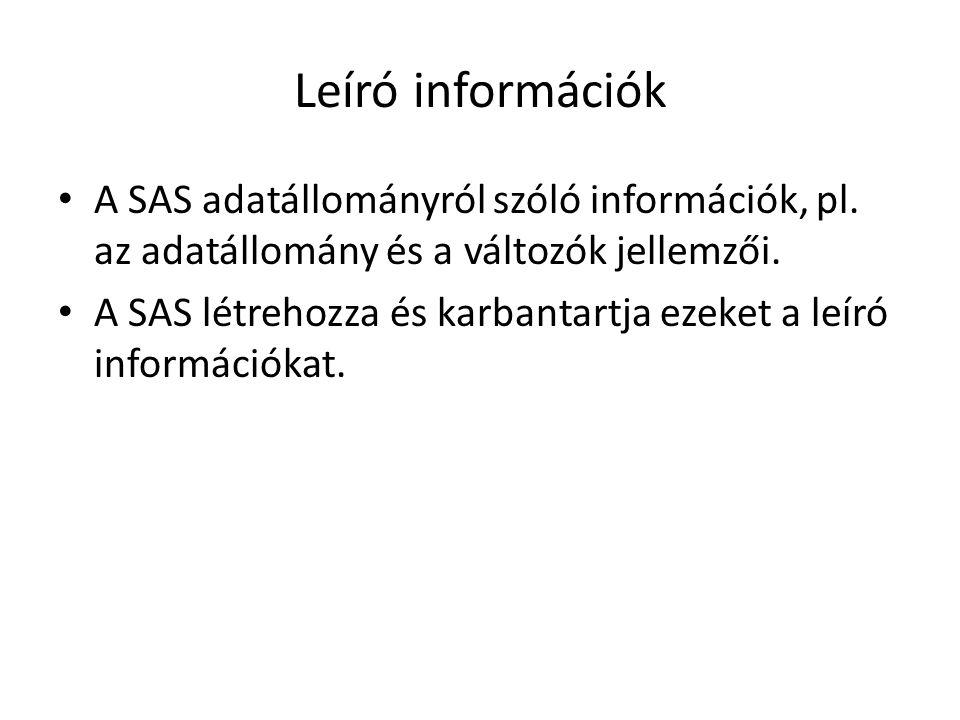 Leíró információk A SAS adatállományról szóló információk, pl.