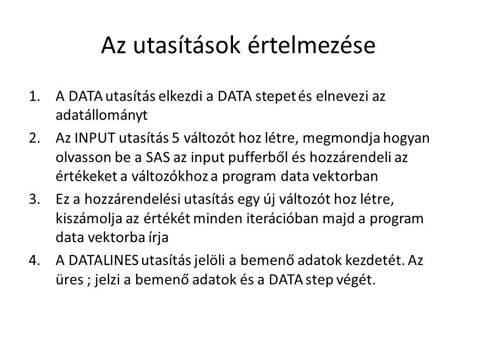 Az utasítások értelmezése 1.A DATA utasítás elkezdi a DATA stepet és elnevezi az adatállományt 2.Az INPUT utasítás 5 változót hoz létre, megmondja hogyan olvasson be a SAS az input pufferből és hozzárendeli az értékeket a változókhoz a program data vektorban 3.Ez a hozzárendelési utasítás egy új változót hoz létre, kiszámolja az értékét minden iterációban majd a program data vektorba írja 4.A DATALINES utasítás jelöli a bemenő adatok kezdetét.