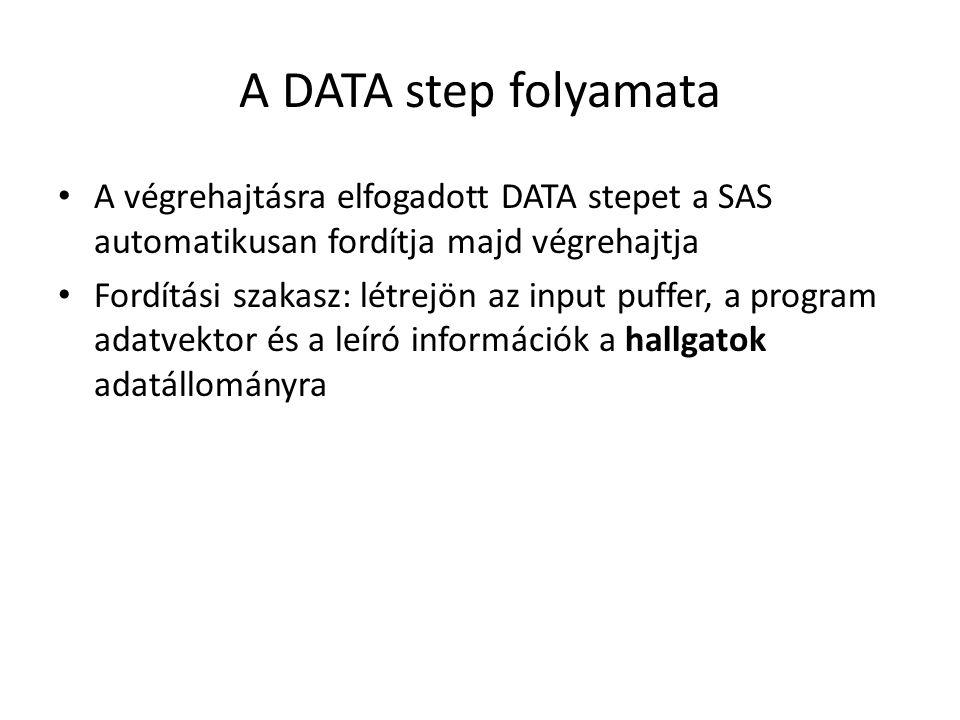 A DATA step folyamata A végrehajtásra elfogadott DATA stepet a SAS automatikusan fordítja majd végrehajtja Fordítási szakasz: létrejön az input puffer, a program adatvektor és a leíró információk a hallgatok adatállományra