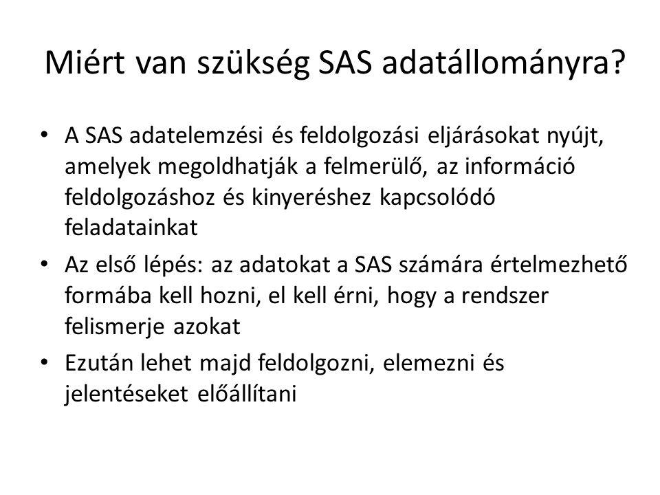 Miért van szükség SAS adatállományra.