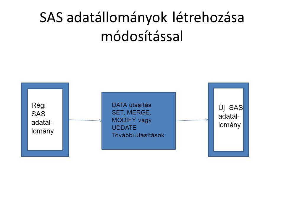 SAS adatállományok létrehozása módosítással DATA utasítás SET, MERGE, MODIFY vagy UDDATE További utasítások Régi SAS adatál- lomány Új SAS adatál- lomány