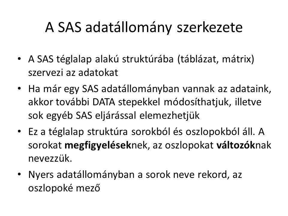 A SAS adatállomány szerkezete A SAS téglalap alakú struktúrába (táblázat, mátrix) szervezi az adatokat Ha már egy SAS adatállományban vannak az adataink, akkor további DATA stepekkel módosíthatjuk, illetve sok egyéb SAS eljárással elemezhetjük Ez a téglalap struktúra sorokból és oszlopokból áll.