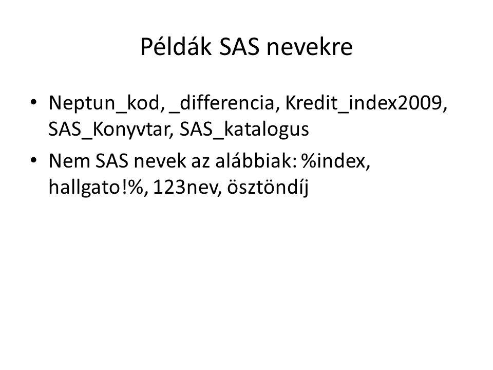 Példák SAS nevekre Neptun_kod, _differencia, Kredit_index2009, SAS_Konyvtar, SAS_katalogus Nem SAS nevek az alábbiak: %index, hallgato!%, 123nev, öszt