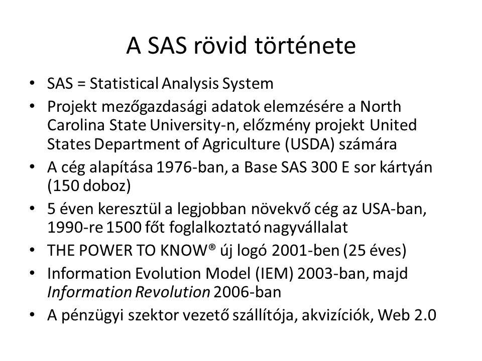 A SAS rövid története SAS = Statistical Analysis System Projekt mezőgazdasági adatok elemzésére a North Carolina State University-n, előzmény projekt
