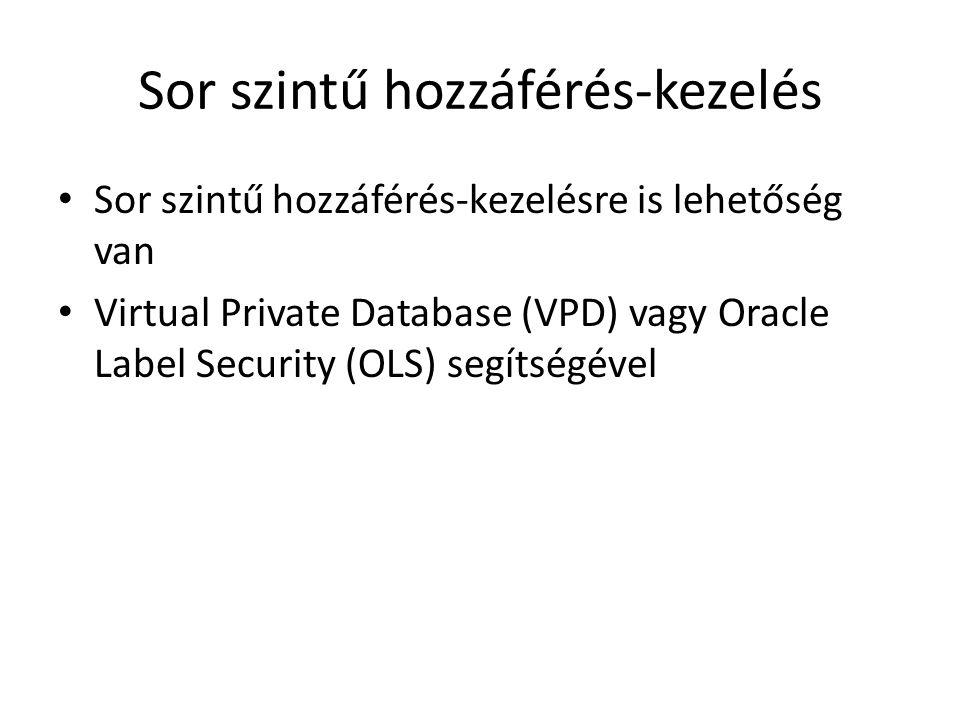 Sor szintű hozzáférés-kezelés Sor szintű hozzáférés-kezelésre is lehetőség van Virtual Private Database (VPD) vagy Oracle Label Security (OLS) segítsé