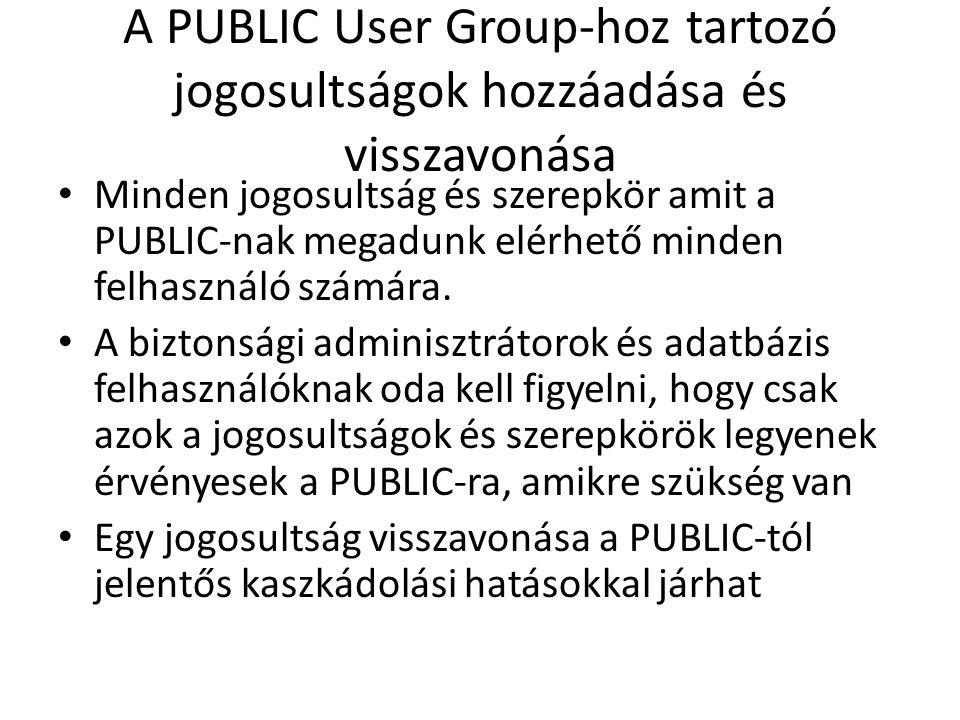 A PUBLIC User Group-hoz tartozó jogosultságok hozzáadása és visszavonása Minden jogosultság és szerepkör amit a PUBLIC-nak megadunk elérhető minden fe