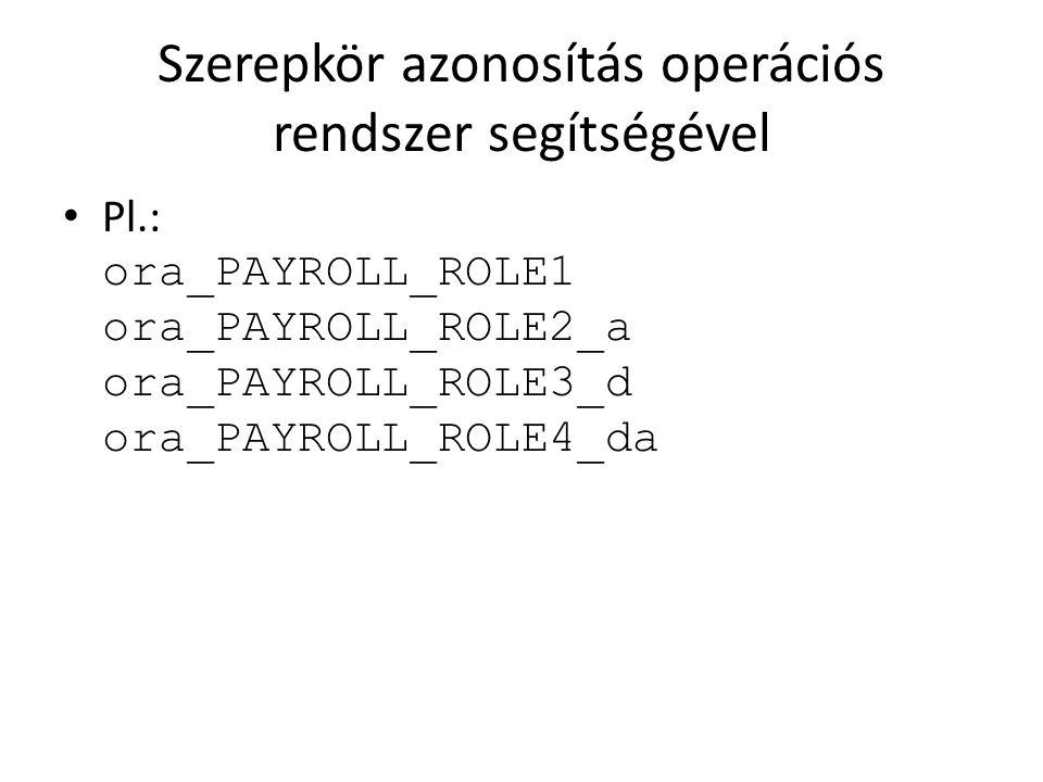 Szerepkör azonosítás operációs rendszer segítségével Pl.: ora_PAYROLL_ROLE1 ora_PAYROLL_ROLE2_a ora_PAYROLL_ROLE3_d ora_PAYROLL_ROLE4_da
