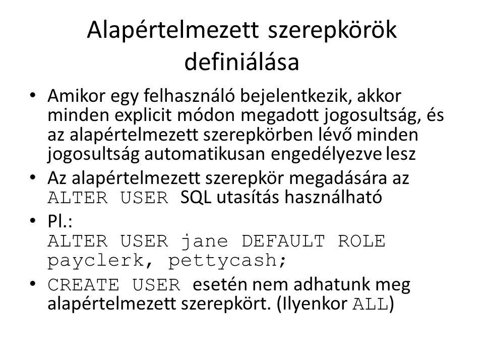 Alapértelmezett szerepkörök definiálása Amikor egy felhasználó bejelentkezik, akkor minden explicit módon megadott jogosultság, és az alapértelmezett