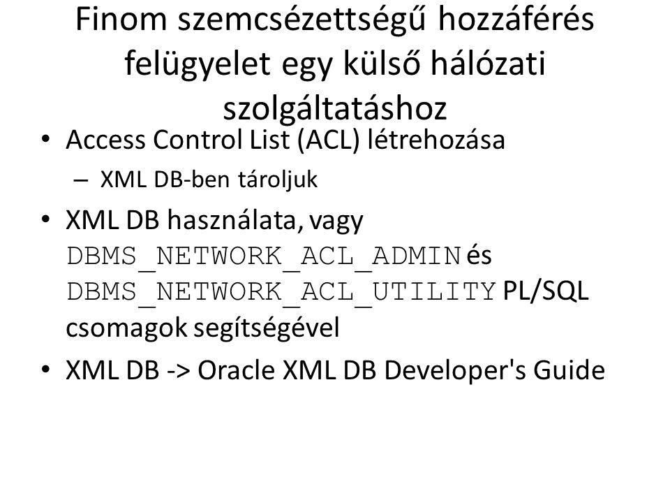 Finom szemcsézettségű hozzáférés felügyelet egy külső hálózati szolgáltatáshoz Access Control List (ACL) létrehozása – XML DB-ben tároljuk XML DB hasz