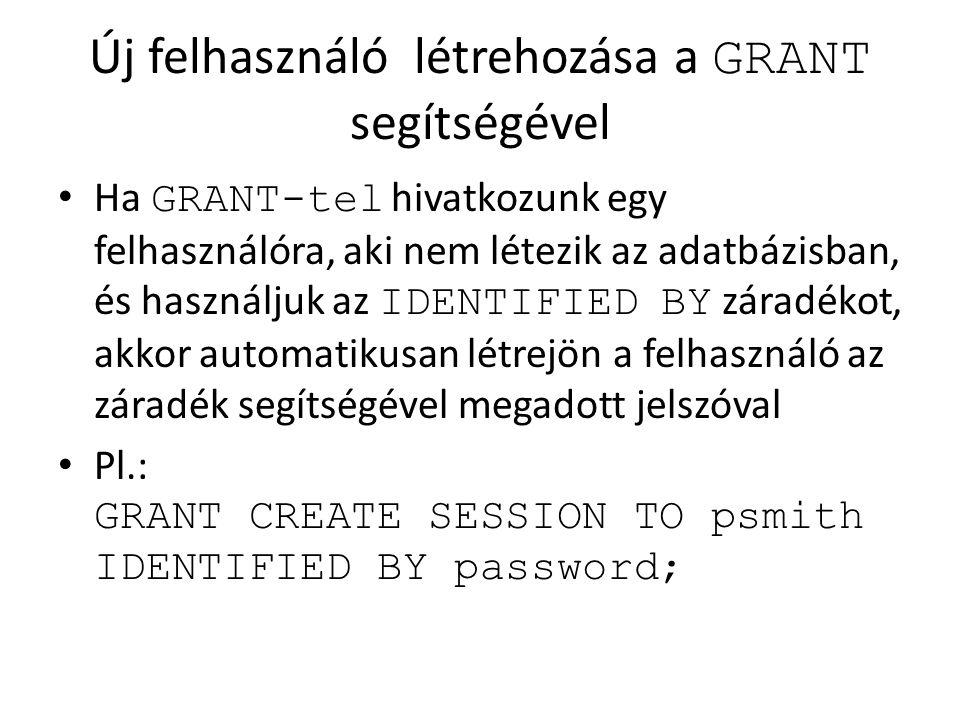Új felhasználó létrehozása a GRANT segítségével Ha GRANT-tel hivatkozunk egy felhasználóra, aki nem létezik az adatbázisban, és használjuk az IDENTIFI
