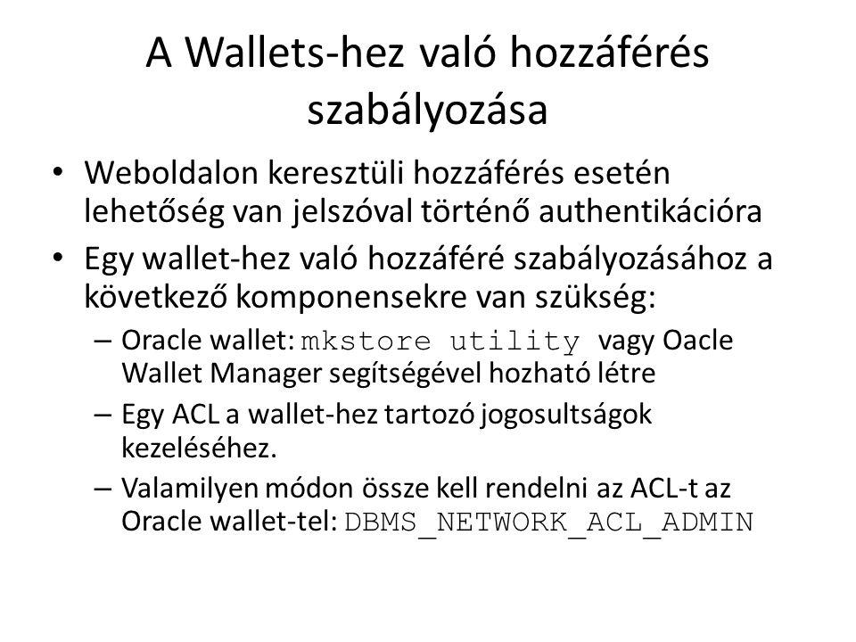 A Wallets-hez való hozzáférés szabályozása Weboldalon keresztüli hozzáférés esetén lehetőség van jelszóval történő authentikációra Egy wallet-hez való